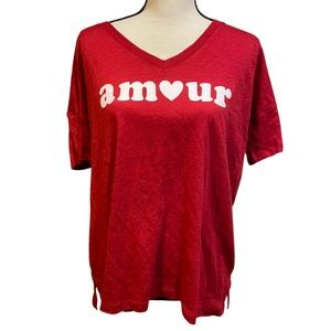 PJ Salvage Amour Heart Red Pajama Shirt